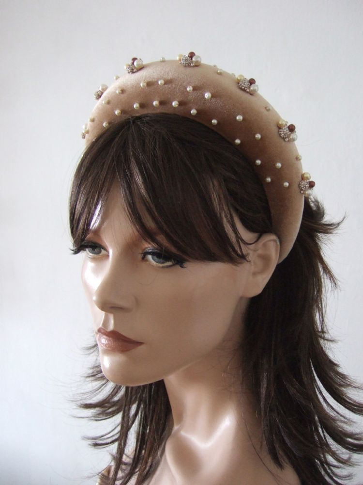 Honey Nude Thick Padded Wide Embellished Headband with Brown Gold Silver Pearls  + Crystals